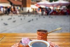 Traditional black bosnian coffee at Bascarsija square in old town of Sarajevo