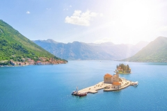 Panoramic view of the artificial island with a church in the sunlight