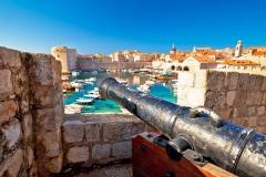 Dubrovnik harbor and landmarks view form defense walls